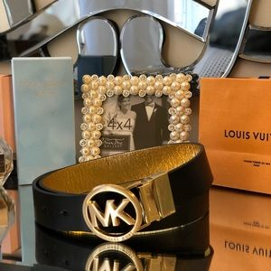 Michael Kors Black Leather Belt Never Worn Size S